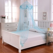 Casablanca Kids Buttons and Bows Kids Collapsible Hoop Sheer Bed Canopy; Blue by