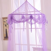 Casablanca Kids Buttons and Bows Kids Collapsible Hoop Sheer Bed Canopy; Purple by