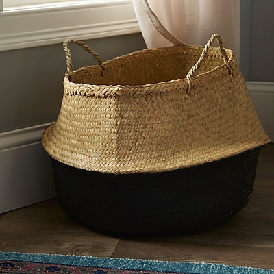 Mistana Traditional Seagrass Basket w/ Handles; Natural/Black