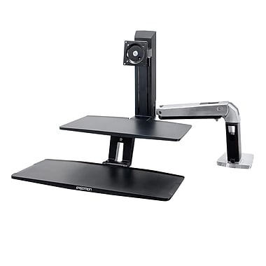 Ergotron® WorkFit-A Sit-Stand with Suspended Keyboard, Polished Aluminum (24-390-026)