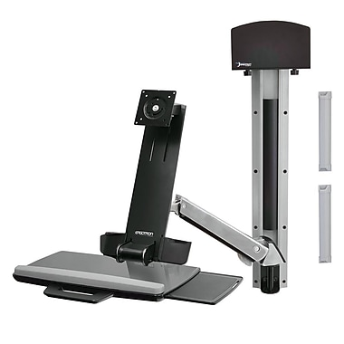 Ergotron® StyleView Sit-Stand Combo System, Small CPU Holder, Bright White Texture (45-273-216)