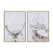 Deer Canvas Print with  Frame S/2 (2020-AM7903-S2)