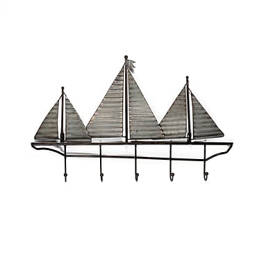 Sailboats Wall Decor with Hooks (7603-AM6173-00)