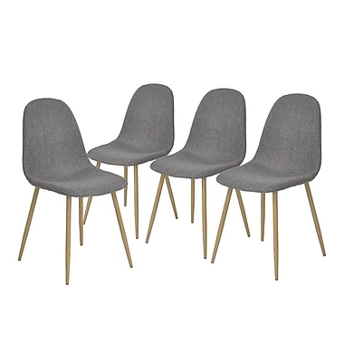 Ensemble de 4 chaises pour table à manger Charlton, gris (3339-AM8656-GY)
