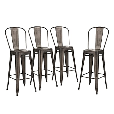 Tabouret de bar Alexandrea, gris métallique, 17 x 17,5 x 46,5 (po), 4/paquet (3339-AM8660-00)