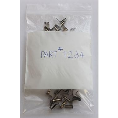 KL Rubber – Sac en polyéthylène refermable 2 mil, 3 po x 4 po, avec case blanche pour ID, paq./1000