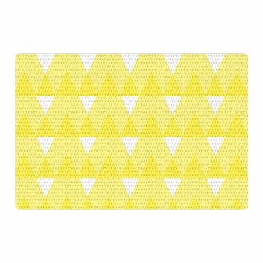 East Urban Home Jackie Rose Triangles Custard White/Yellow Area Rug; 2' x 3'