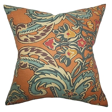 Bloomsbury Market Delroy Floral Cotton Blend Floor Pillow; Cinnamon