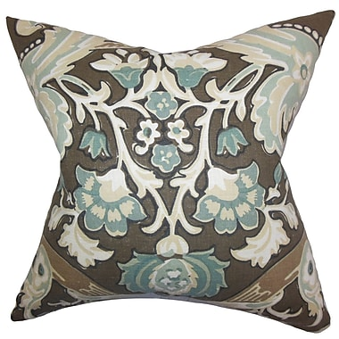 Bloomsbury Market Delroy Floral Cotton Blend Floor Pillow; Storm