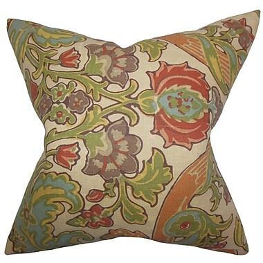 Bloomsbury Market Delroy Floral Cotton Blend Floor Pillow; Green/Brown
