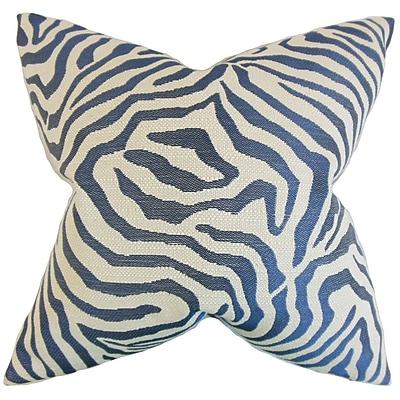 Bloomsbury Market Delrico Zebra Cotton Blend Floor Pillow; Marine