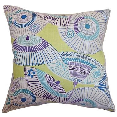 Bloomsbury Market Devona Geometric Cotton Blend Floor Pillow; Green/Purple