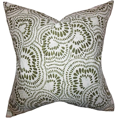 Bloomsbury Market Dian Floral Cotton Blend Floor Pillow; Olive Green