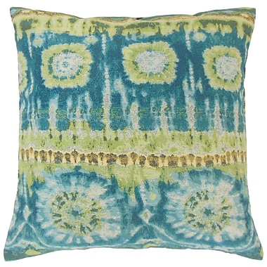 Bloomsbury Market Dickerson Ikat Cotton Blend Floor Pillow; Lagoon