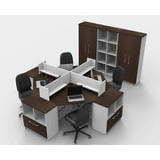TeamCENTERoffice Triangular Corner 14 Piece L-Shaped Desk Office Suite