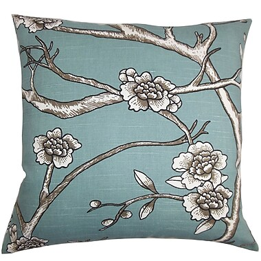 Alcott Hill Mangels Floral Cotton Blend Floor Pillow; Blue