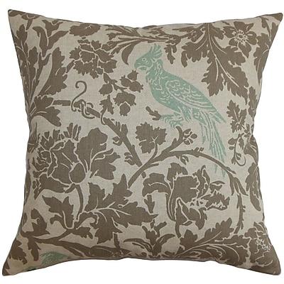 Alcott Hill Mandell Floral Cotton Blend Floor Pillow; Blue/Linen