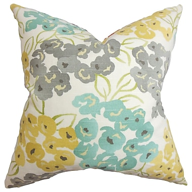 August Grove Joanne Floral Cotton Blend Floor Pillow; Gray