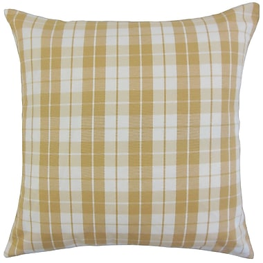 August Grove Joan Plaid Cotton Blend Floor Pillow; Honey