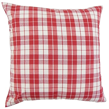 August Grove Joan Plaid Cotton Blend Floor Pillow; Red