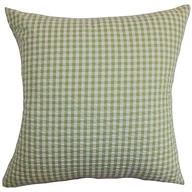 August Grove Natasha Plaid Cotton Blend Floor Pillow; Light/Green