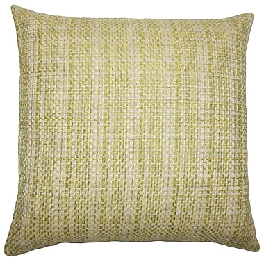 August Grove Nikki Plaid Cotton Blend Floor Pillow; Leaf