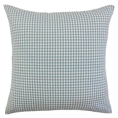August Grove Noreen Plaid Floor Pillow Aqua; Aqua
