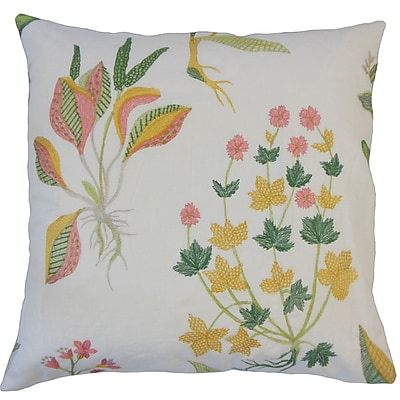 August Grove Rafanan Modern Floral Down Filled 100pct Cotton Throw Pillow; 22'' x 22''