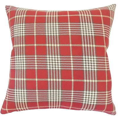 August Grove Datro Plaid Down Filled 100pct Cotton Lumbar Pillow; Red