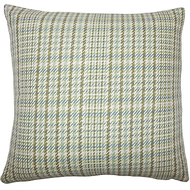 August Grove Piper Plaid Floor Pillow Avocado; Avocado