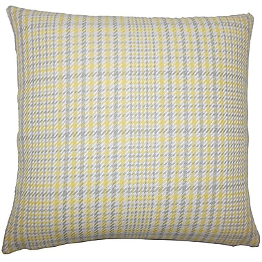 August Grove Piper Plaid Floor Pillow Avocado; Jonquil