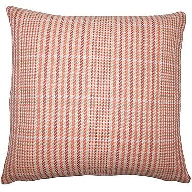 August Grove Piper Plaid Floor Pillow Avocado; Melon