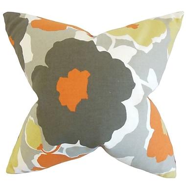 August Grove Reyna Floral Cotton Blend Floor Pillow; Orange