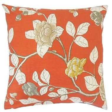 August Grove Rhonda Floral Cotton Blend Floor Pillow; Persimmon