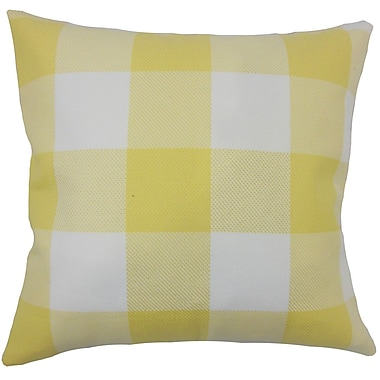 August Grove Ronzi Plaid Down Filled 100pct Cotton Lumbar Pillow; Yellow