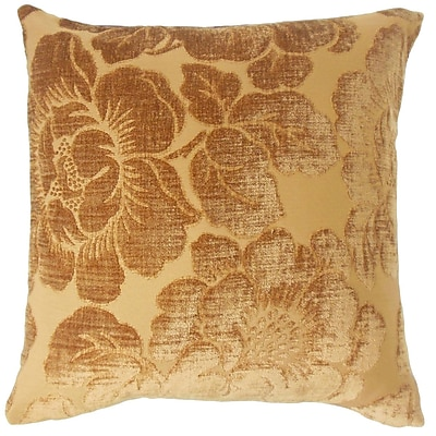 Astoria Grand Phoenix Floral Cotton Blend Floor Pillow; Ginger