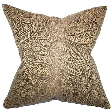 Astoria Grand Plagido Paisley Cotton Blend Floor Pillow; Brown