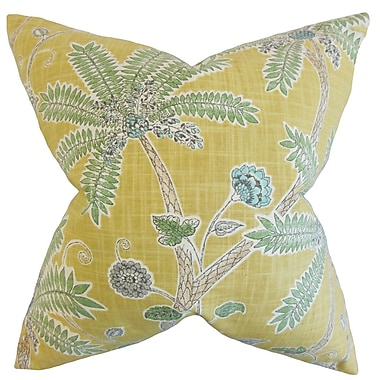Bay Isle Home Goldenrod Floral Cotton Blend Floor Pillow; Amber