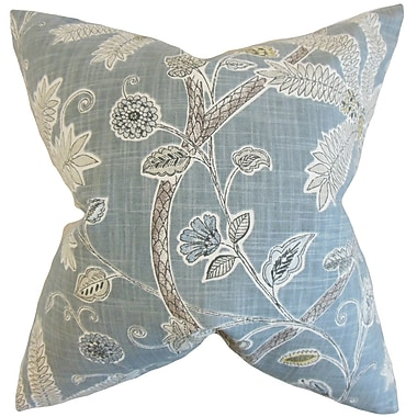 Bay Isle Home Goldenrod Floral Cotton Blend Floor Pillow; Mineral