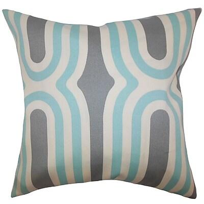 Brayden Studio Sammy Geometric Cotton Blend Floor Pillow; Aquamarine
