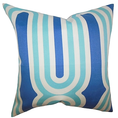 Brayden Studio Sammy Geometric Cotton Blend Floor Pillow; Blue