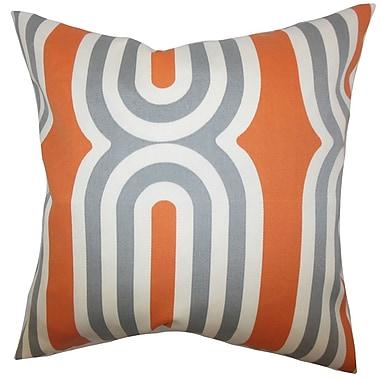 Brayden Studio Sammy Geometric Cotton Blend Floor Pillow; Orange