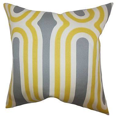 Brayden Studio Sammy Geometric Cotton Blend Floor Pillow; Yellow