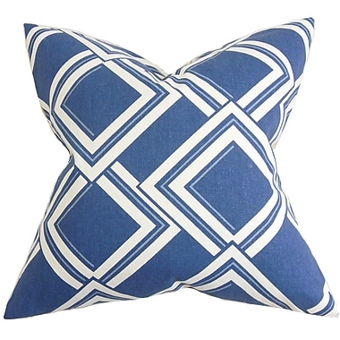 Brayden Studio Jarvis Geometric Cotton Blend Floor Pillow; Blue