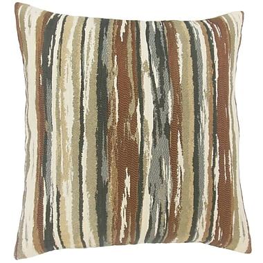 Brayden Studio Korey Stripes Cotton Blend Floor Pillow; Earth