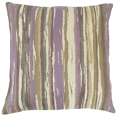 Brayden Studio Korey Stripes Cotton Blend Floor Pillow; Lavender
