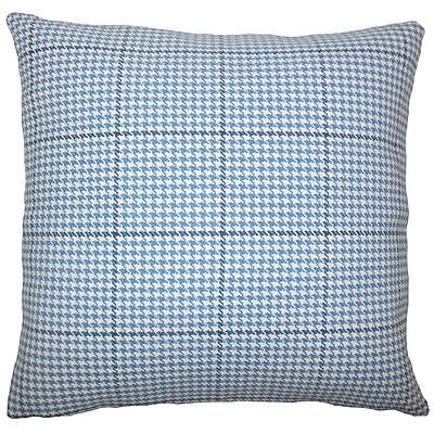 Brayden Studio Chaz Houndstooth Cotton Blend Floor Pillow; Blue