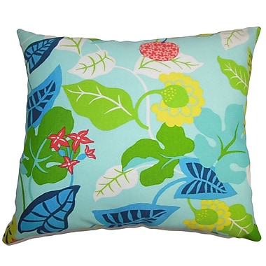 Bayou Breeze Cole Floral Outdoor Cotton Blend Floor Pillow; Turquoise/Green