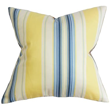 Bayou Breeze Conewango Stripe Cotton Blend Floor Pillow; Blue/Yellow