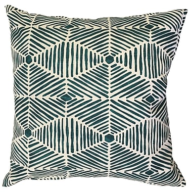 Bloomsbury Market Downen Geometric Floor Pillow Black; Blue
